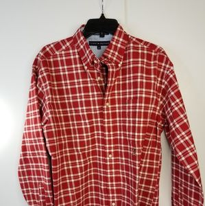 Tommy Hilfiger Red Wine Plaid Long Sleeve Crested